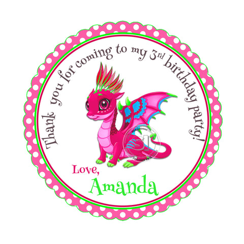 Custom Red Dragon Printable 2.5'' Tags-Personalized Dinosaur Thank you Birthday 2.5 inches Tags- Party Favor  Dragon Stickers DIY-Digital file