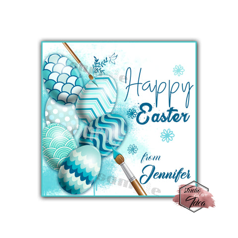 Happy Easter Custom Printable 2.5'' Tags-Personalized Happy Easter 2.5 inches Tags- Party Favor DIY Stickers - Tags -Digital file