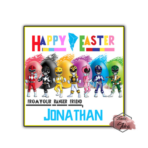 Happy Easter Power Rangers Custom Printable 2.5'' Tags-Personalized Happy Easter 2.5 inches Tags- Party Favor DIY Stickers - Tags -Digital file