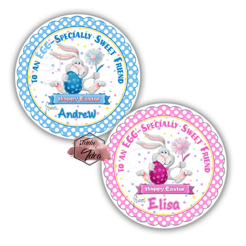 Happy Easter- Cute Bunny Custom Printable 2.5'' Tags-Personalized Happy Easter 2.5 inches Tags- Party Favor DIY Stickers - Tags -Digital file