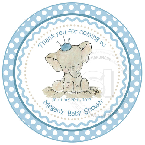 "Custom cute Elephant Baby Shower Thank you Printable 2.5"" Tags-Personalized Baby Elephant thank you 2.5 inches Tags- baby Shower Stickers DIY Birthday Favor Tags"