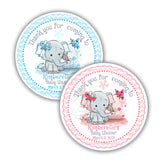 "Custom cute Elephant Baby Shower Thank you Printable 2.5"" Tags-Personalized Baby Elephant thank you 2.5 inches Tags- Boy or Girl Baby Shower Stickers DIY Birthday Favor Tags"