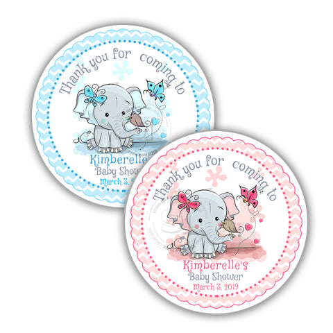 photograph relating to Printable Baby Shower Tags identified as Custom made lovely Elephant Youngster Shower Thank by yourself Printable 2.5\