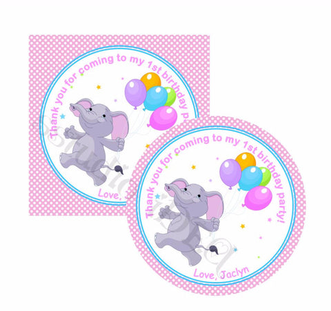"Custom cute Elephant with Balloons Birthday Thank you Printable 2.5"" Tags-Personalized Baby Elephant thank you 2.5 inches Tags- baby Shower Stickers DIY Birthday Favor Tags"