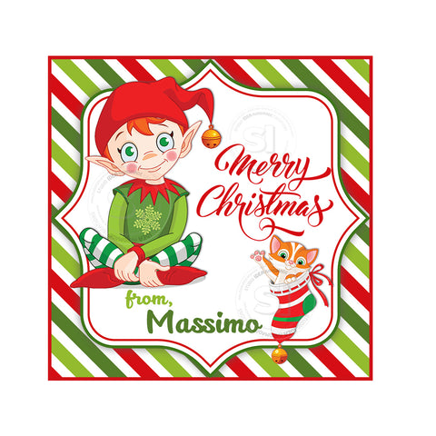 "Custom Christmas Printable 2.5'' Tags- Christmas Elf tag - Christmas Wishes Personalized Tags-DIY (You Print) 2.5"" tags-Digital File"