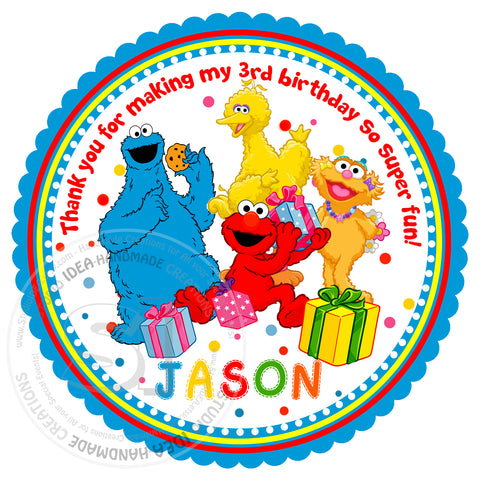 "Custom Elmo Thank you Tags 2.5"" Printable Elmo and Friends, Sesame street Tags-Personalized Birthday, Baby Shower Thank you Tags-Digital File-YOU PRINT"