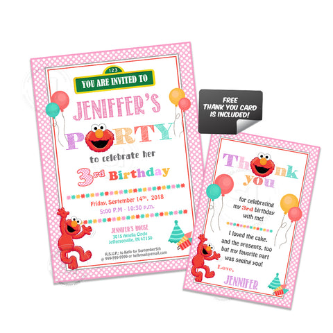 Custom Elmo Printable Birthday Invitation with FREE matching Thank you Card- Printable Sesame street Invitations-Personalized Birthday, Baby Shower-Digital File-YOU PRINT