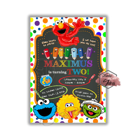 SESAME STREET PERSONALIZED PRINTABLE BIRTHDAY PARTY INVITATION /& FREE TY CARD