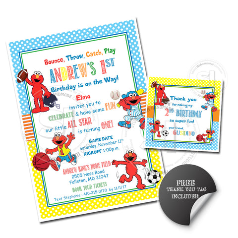 Custom Elmo Sports All Star Birthday Invitation With FREE Matching Thank You Square Tag Printable
