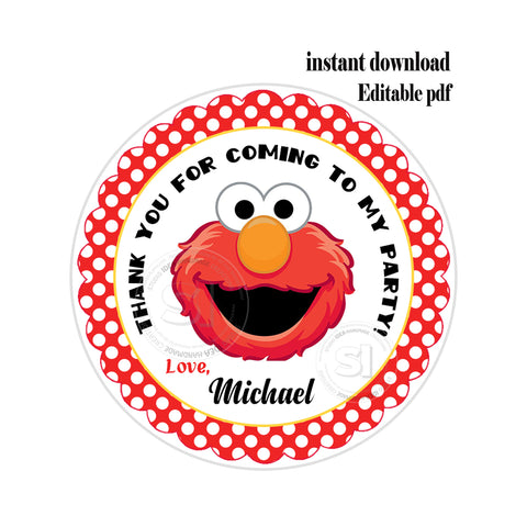 "Elmo Party-EDITABLE-INSTANT DOWNLOAD- Sesame Street Personalized Printable 2.5"" Tags-INSTANT DOWNLOAD Tags- Stickers DIY Favor Tags"