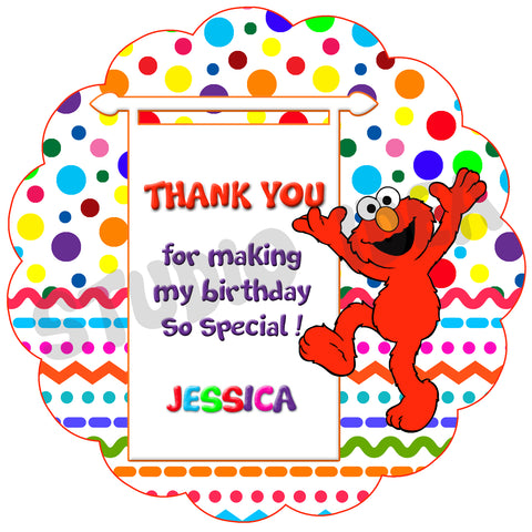 photo relating to Free Printable Thank You Tags for Birthdays known as Tailor made Elmo Birthday Invitation with Free of charge matching Thank yourself Tag- Printable Elmo and Buddies, Sesame highway Invites-Customized Birthday, Child