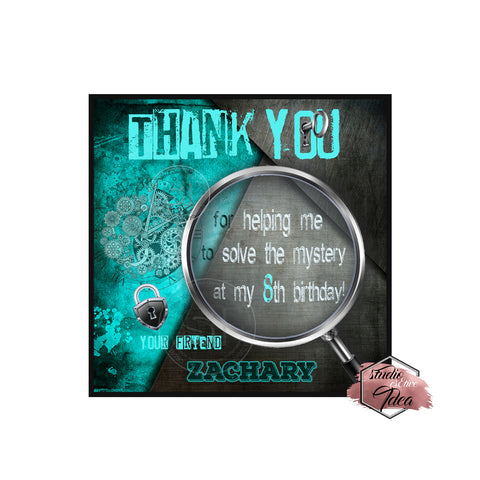 "Escape Room Party-Thank you Printable 2.5"" Tags-Personalized Mystery Solved Theme  2.5 inches Tags DIY Favor Tags-Stickers"