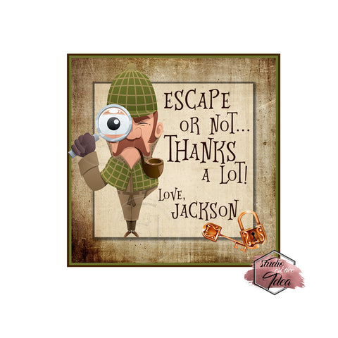 "Escape Room Party-Thank you Printable 2.5"" Tags-Personalized Mystery Solved-Sherlock Holmes Theme  2.5 inches Tags DIY Favor Tags-Stickers"