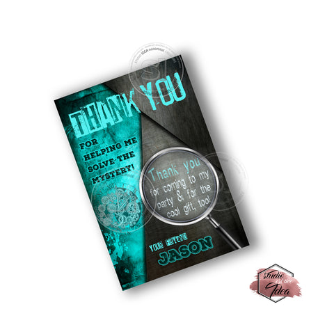photo about Free Escape Room Printable named Escape Area Get together Printable Invitation with Totally free Thank by yourself Card-Do-it-yourself Electronic Record-Escape House Concept Birthday Invitation -Your self Print