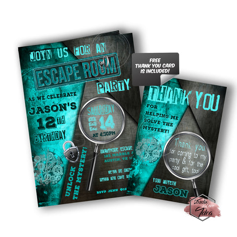 picture regarding Printable Escape Room called Escape Area Occasion Printable Invitation with Totally free Thank by yourself Card-Do it yourself Electronic Record-Escape Area Concept Birthday Invitation -Yourself Print