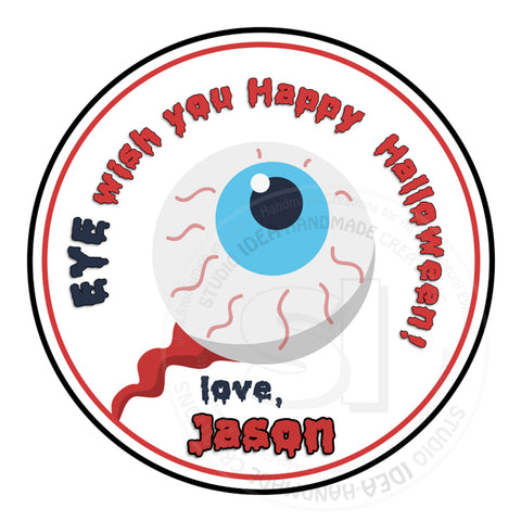 "Eye Halloween Stickers 2.5""- Personalized Happy Halloween Stickers-Tags 2.5"""