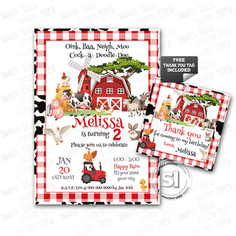 Barnyard Farm Party Printable Invitation with FREE Thank you Tag-DIY Digital File-Farm Animals Birthday Invitation -You Print