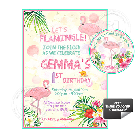 Pink Flamingo Birthday Party Printable Invitation with FREE Thank you Tag-DIY Digital File-Flamingo Birthday Invitation -You Print