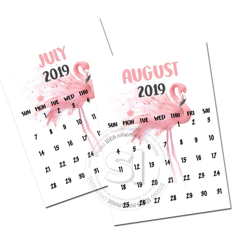 "Pink Flamingo Printable 5"" x 7"" Monthly Calendar 2018 & 2019 plus Bonus extra smaller size-INSTANT DOWNLOAD"