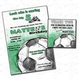 Football - Soccer Party Printable Invitation with FREE Thank you Tag-DIY Digital File-Sports Theme Birthday Invitation -You Print