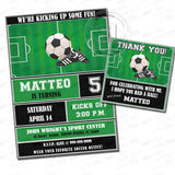 Soccer-Football Party Printable Invitation with FREE Thank you Tag-DIY Digital File-Sports Theme Birthday Invitation -You Print