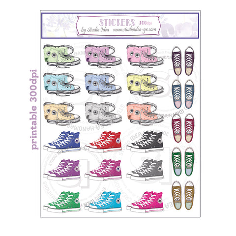 Printable All Star stickers- 300dpi - Planner Stickers- All Star Sneaker Stickers