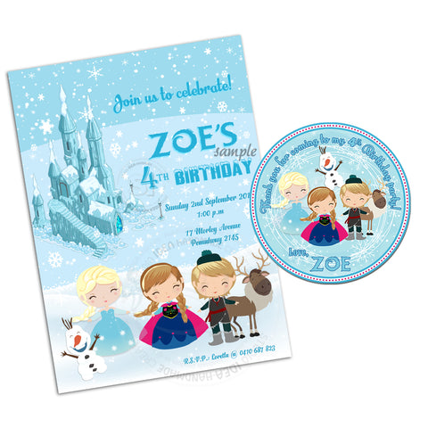 Frozen Princess Party Printable Invitation with FREE Thank you Tag-DIY Digital File-Frozen Elsa Anna Olaf Sven Kristoff-Birthday Invitation -You Print