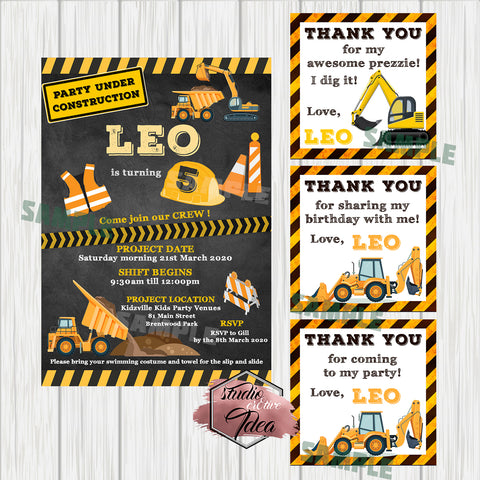 Construction Theme Digital Invitation and tags-Custom Order for Gill