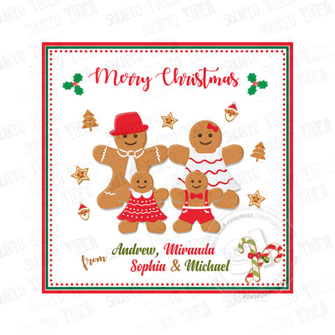 "Custom Christmas Printable 2.5'' Tags-Gingerbread Cookies Family Christmas Wishes Personalized Tags-DIY (You Print) 2.5"" Square tags-Digital File"