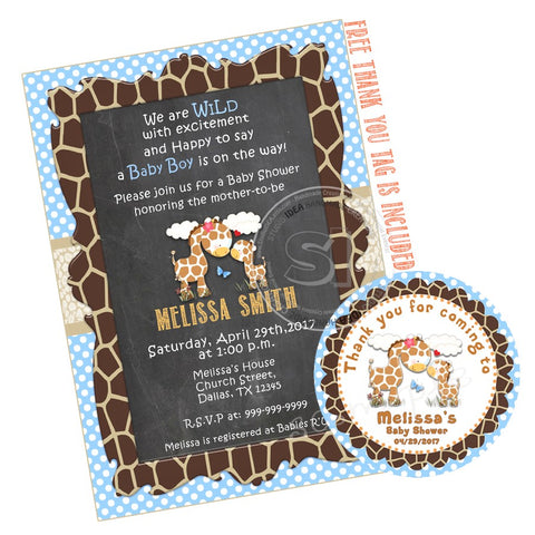 Custom Giraffe Baby Shower Invitation with FREE matching Thank you Tag- Printable Giraffe Invitations-Personalized Birthday, Baby Shower Thank you Tags-Digital File-YOU PRINT