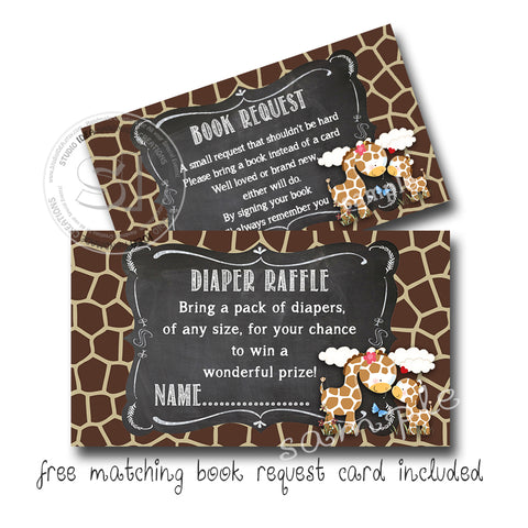 "INSTANT DOWNLOAD- Diaper Raffle Giraffe Theme 3.5"" x 2"" with FREE matching Book request note-Giraffe Theme Digital File-YOU PRINT"