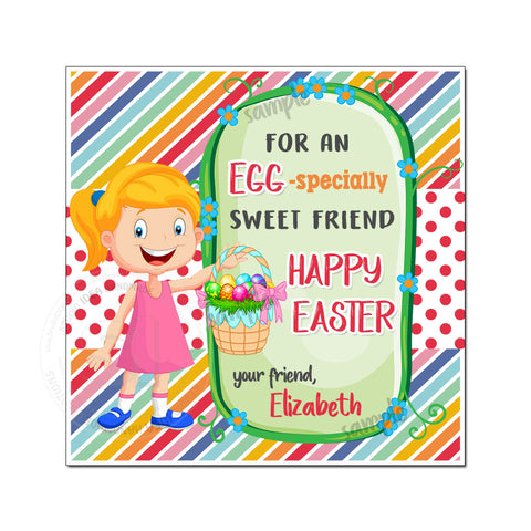 Easter Custom Printable 2.5'' Girl Tags-Personalized Happy Easter 2.5 inches Tags- Party Favor DIY Stickers - Tags -Digital file