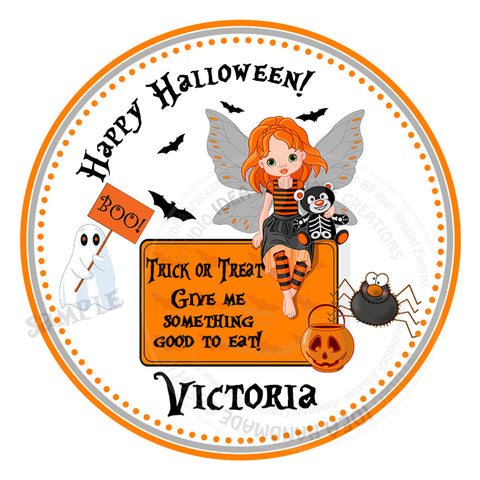 "Trick or Treat Halloween Girl Stickers 2.5""- Personalized Happy Halloween  Stickers-Tags 2.5"""