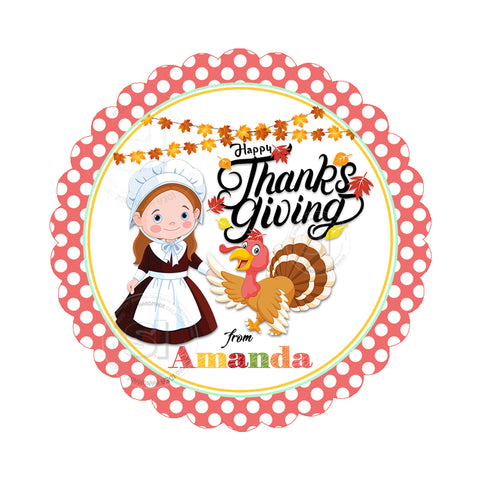 Happy Thanksgiving Custom Printable 2.5'' Tags-Personalized Pilgrim Girl with Turkey Thanksgiving 2.5 inches Tags- Party Favor DIY Stickers - Tags -Digital file