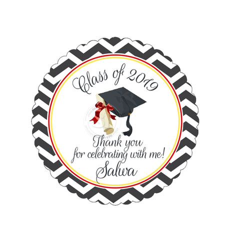 "Custom Graduation Party Printable 2.5"" Tags-Personalized Graduation 2.5 inches Thank you Tags- Chevron background-Class of 2019 Graduation Tags-Printable-Digital File"