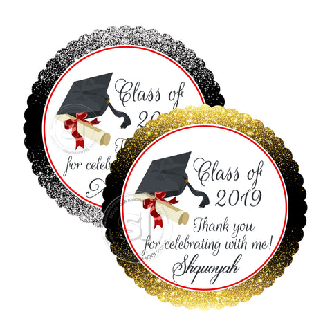 "Custom Graduation Party Printable 2.5"" Tags-Personalized Graduation 2.5 inches Thank you Tags- Gold or Silver Background -Class of 2019 Graduation Tags-Printable-Digital File"