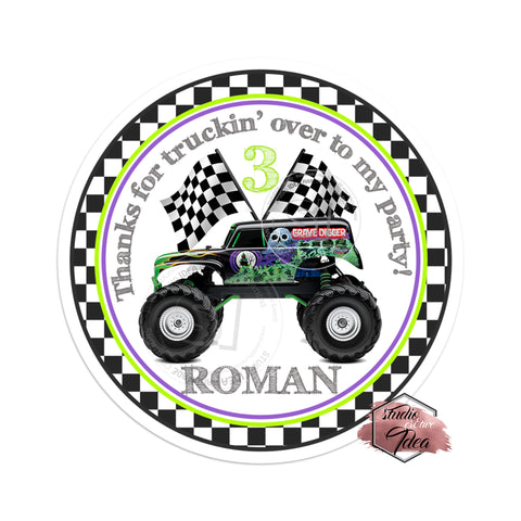 Monster Truck - Grave Digger Inspired Party Printable Thank you Tag-DIY Digital File- You Print