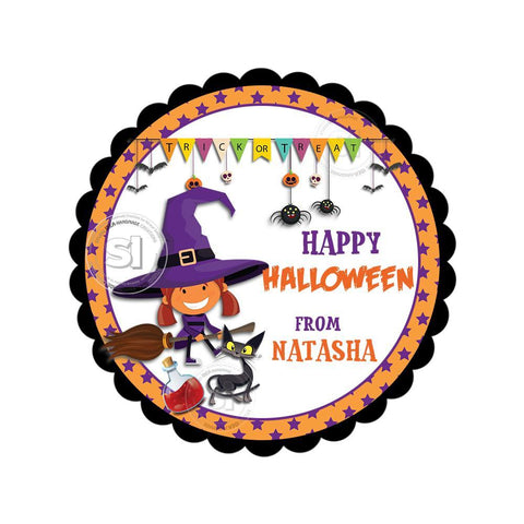Happy Halloween  Custom Printable 2.5'' Tags-Personalized Halloween-Witch -cat- 2.5 inches Tags- Party Favor DIY Stickers - Tags -Digital file