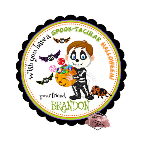 Happy Halloween Boy in Costume Custom Printable 2.5'' Tags-Personalized Happy Halloween 2.5 inches Tags- Party Favor DIY Stickers - Tags -Digital file