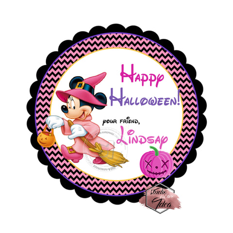 Minnie Mouse Happy Halloween Custom Printable 2.5'' Tags-Personalized Happy Halloween Disney-2.5 inches Tags- Party Favor DIY Stickers - Tags -Digital file