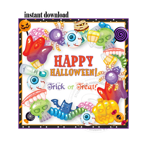 INSTANT DOWNLOAD-Halloween Trick or Treat - Halloween Candies- Sweets -Printable 2.5'' Tags-Happy Halloween 2.5 inches Tags- Party Favor DIY Stickers