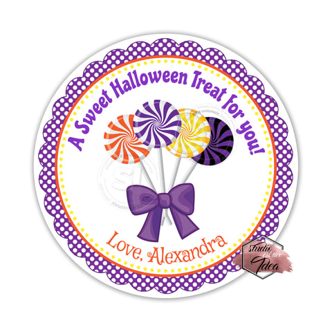 Halloween Sweets-Lollipops Custom Printable 2.5'' Tags-Personalized Happy Halloween 2.5 inches Tags- Party Favor DIY Stickers - Tags -Digital file