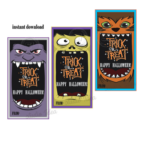 INSTANT DOWNLOAD-Monsters Halloween Trick or Treat - Happy Halloween-Printable Rectangle Tags-Party Favor DIY Stickers