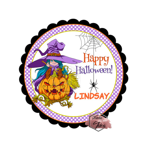 Halloween Witch and Pumpkin Custom Printable 2.5'' Tags-Personalized Happy Halloween 2.5 inches Tags- Party Favor DIY Stickers - Tags -Digital file