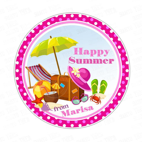 "Custom Happy Summer Printable 2.5"" Tags-Personalized Happy Summer 2.5 inches Tags- Stickers DIY Favor Tags"