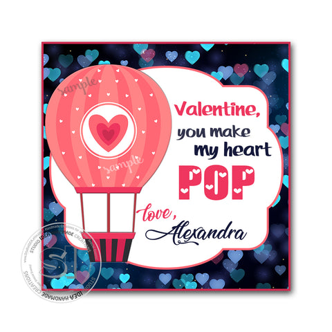 "Valentine's day Custom Printable Tags- 2.5"" Tags-Happy Valentine's Day Personalized 2.5 inches Tags- Stickers DIY Favor Tags-Hot air Balloon Valentines tags"