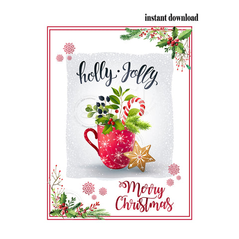 "INSTANT DOWNLOAD- Holly Jolly-Merry Christmas-Tag- Printable Rectangle Tag- 3""x 4"" Tags DIY Favor Tags-Stickers"
