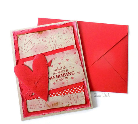 Love Handmade A2 Card- Heart with Arrow -Love theme Handmade Greeting Card -Valentines Card