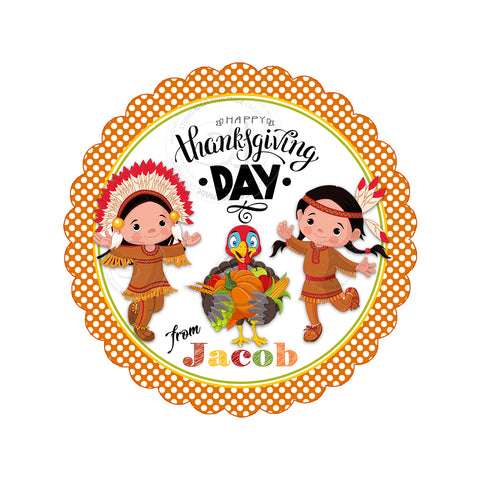 Happy Thanksgiving Custom Printable 2.5'' Tags-Personalized Indian Boy and Girl with cute Turkey-Thanksgiving 2.5 inches Tags- Party Favor DIY Stickers - Tags -Digital file