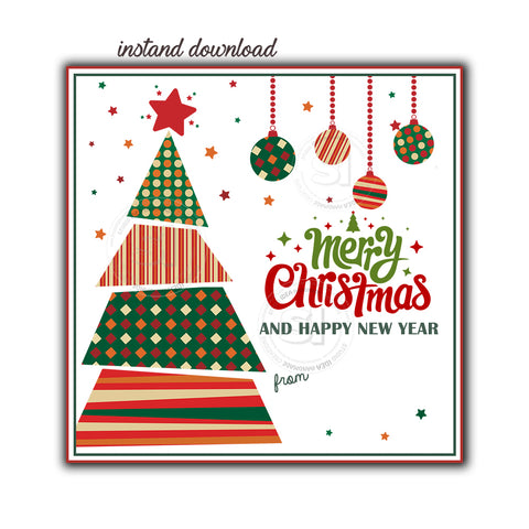 "INSTANT DOWNLOAD- Christmas Tree Wishes Printable 2.5"" Tag-Merry Christmas  2.5 inches Square Tags DIY Favor Tags-Stickers-Modern Style Christmas tag"